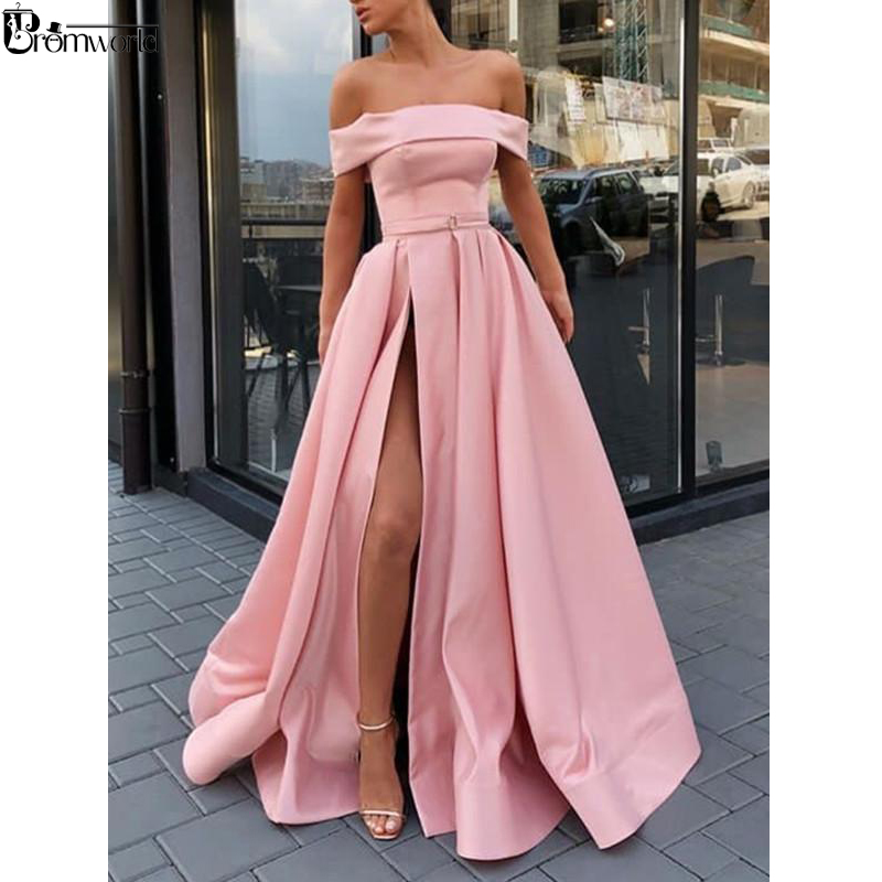 Strapless Pink Prom Dresses 2019 Off The Shoulder High Slit A Line Satin Long Prom Gown Simple Elegant Yellow Evening Dress