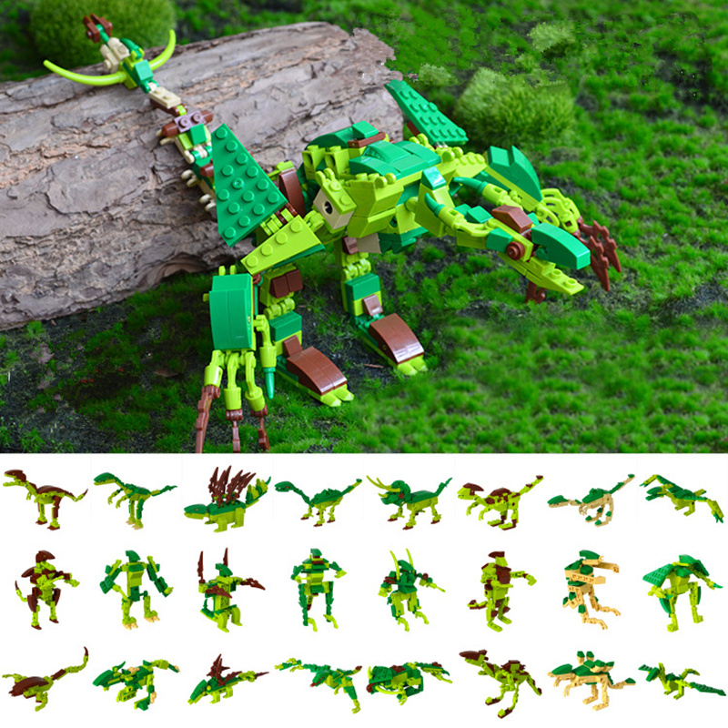8pcs/set Dinosaurs Jurassic World Figures Model Building Tyrannosaurus Assemble Blocks Classic with Kids Toy Eight in one bwl 01 tyrannosaurus dinosaur skeleton model excavation archaeology toy kit white