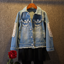 New Baby Long sleeved Denim Jacket Spring Autumn Sequined Hole Infant Casual Clothes Back Printed Fashion Children Denim Jacket