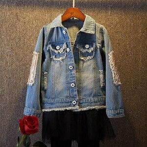Image 1 - Yeni bebek uzun kollu Denim ceket bahar sonbahar payetli delik bebek günlük kıyafetler geri baskılı moda çocuk Denim ceket