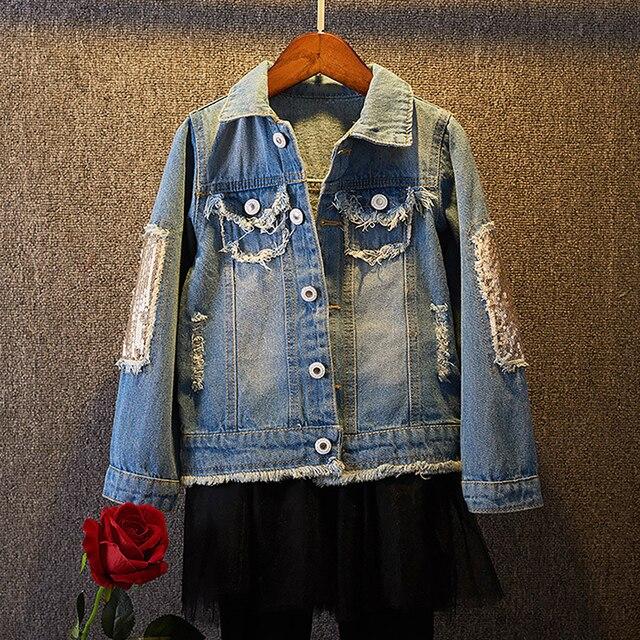 Yeni bebek uzun kollu Denim ceket bahar sonbahar payetli delik bebek günlük kıyafetler geri baskılı moda çocuk Denim ceket