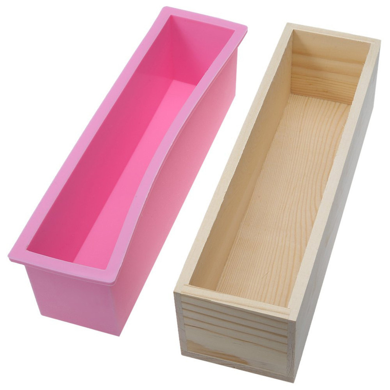 Silicone Loaf Soap Mold Rectangular Flexible Mould With Wooden Box For DIY Natural Handmade Tool 1200ml Decorating Tools
