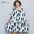 BelineRosa 2017 Summer Plus Size Dresses Cotton and Linen Chinese Ink Painting Tunic Dresses Fit 50~90KG TYW0245