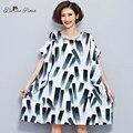 Belinerosa 2017 verano más el tamaño de vestidos de algodón y lino pintura en tinta china tyw0245 túnica vestidos fit 50 ~ 90 kg