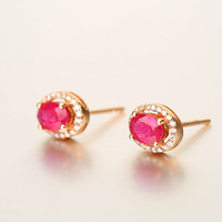 Robira Classic Ruby Stud Earring 18K Rose Gold Fine Jewelry For Women Women S Burmese Natural