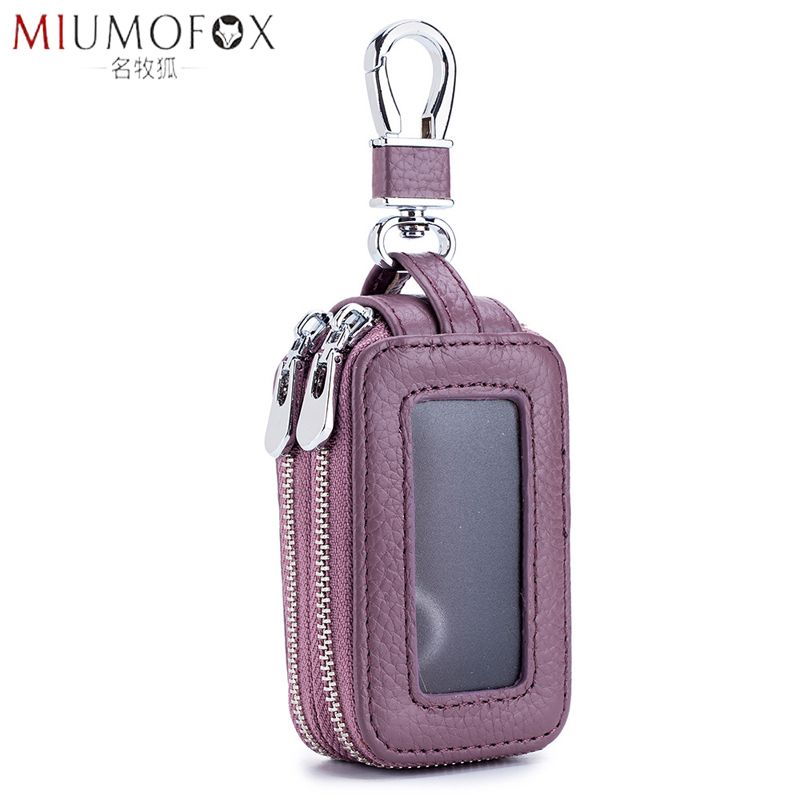 Car Key Holder Men Genuine Leather Practical Housekeeper Multifunctional Double Zipper Square Home Key Case Women Keys Wallet
