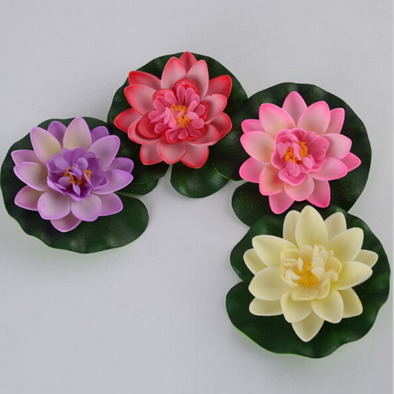 Hot 1 Pc Artificial Floating Lotus For Wedding Decoration Manualidades Mariage Flores Plants Water Lily Garden Fake Bouquet
