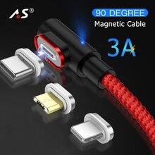 Магнитный кабель A.S 90 градусов USB C Micro usb type C Быстрая зарядка Micro usb type-C магнитное зарядное устройство для iPhone Xs MAX Xiaomi usb-c