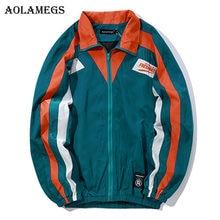 Aolamegs Jacken Männer Retro Gestreiften Patchwork Jacke Trainingsanzug  Mäntel Hüfte Hop drehen-unten Kragen Mode Männlichen Win. 2edcc56866