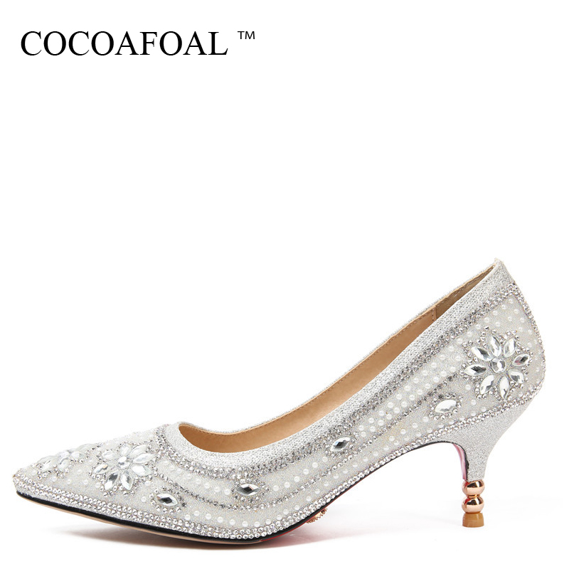 COCOAFOAL Woman Silvery Crystal Pumps Pointed Toe Stiletto Sexy Wedding Pumps Plus Size 32 33 43 47 Crystal High Heels Shoes aidocrystal plus size 35 43 sexy crystal peep toe wedding shoes rhinestone woman pumps open toe high heels