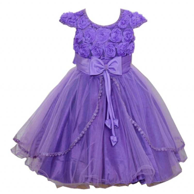 2017 New Kids Girls 3D Flower Bow Formal Party Ball Gown Prom Princess Bridesmaid Wedding Children Tutu Dress kids girls bridesmaid wedding toddler baby girl princess dress sleeveless sequin flower prom party ball gown formal party xd24 c
