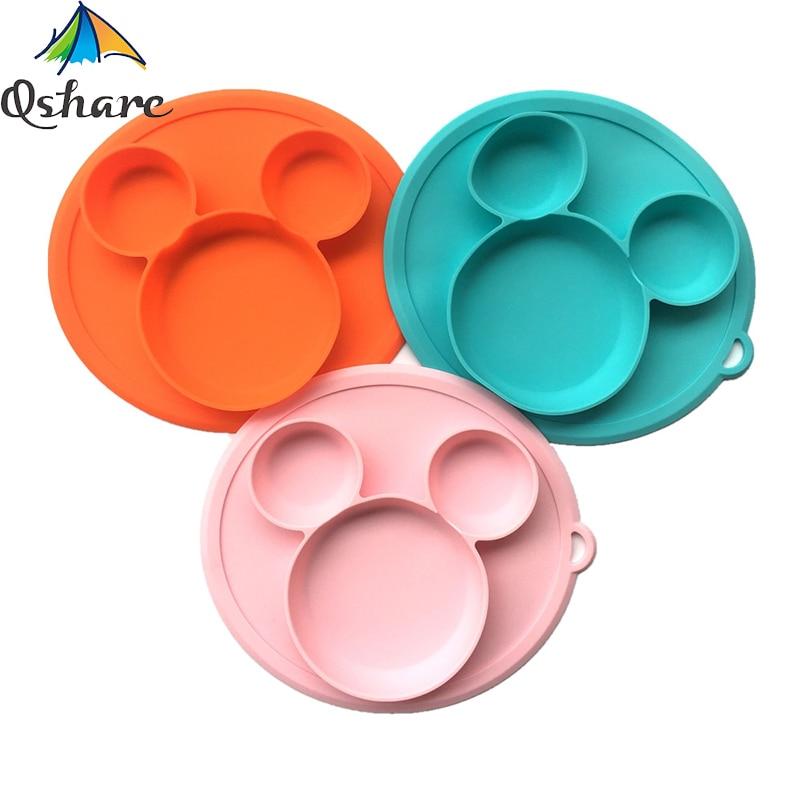 Qshare bol de bébé en Silicone Mickey   FDA assiette pour enfants avec couvercle sans BPA, alimentation enfants vaisselle de table pour enfants