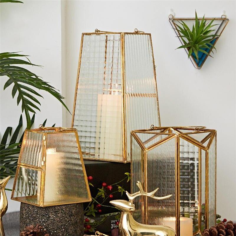 Bougeoir en verre nordique en métal bougeoirs de sol géométriques or Bougeoir bougeoirs décorations de mariage 50ch008