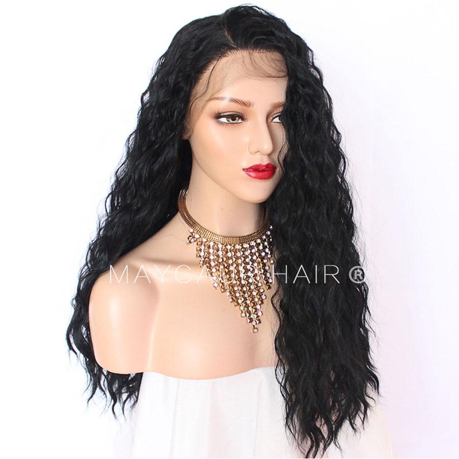 180 Täthet Långt Löst Curly Paryk Med Babyhår Syntetisk Lace - Syntetiskt hår - Foto 3