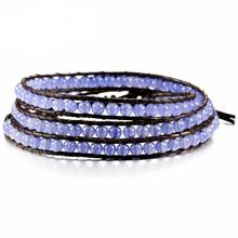 Natural Purple Crystal Jewelry New Semi-precious Stone Beaded 3X Leather Wrap Bracelet Fashion Boho