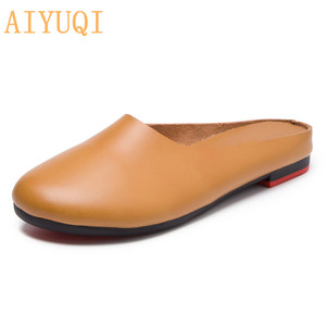 Image 2 - AIYUQI  Women Slippers 2020 Spring New Genuine Leather Women Shoes big Size 41 42 43 Flat Casual Summer Half Slippers Women