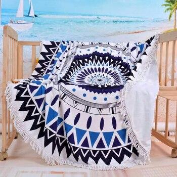 150cm Tassel Giant Beach Blanket Picnic Camping Mat Round Sandbeach Towel Printed TableclothPad Calico Women Shawl Mattress 1