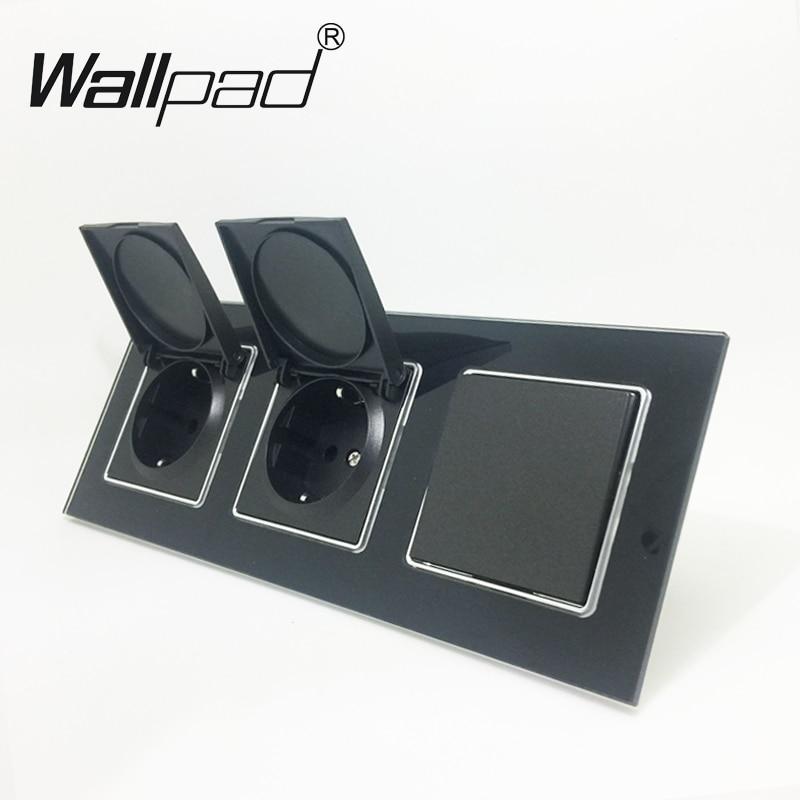 2 Cap Socket+ Switch Wallpad Luxury Black Crystal Glass EU Triple Frame 1 Gang 2 Way and 16A EU Wall Socket with Cap Claws Mount цена