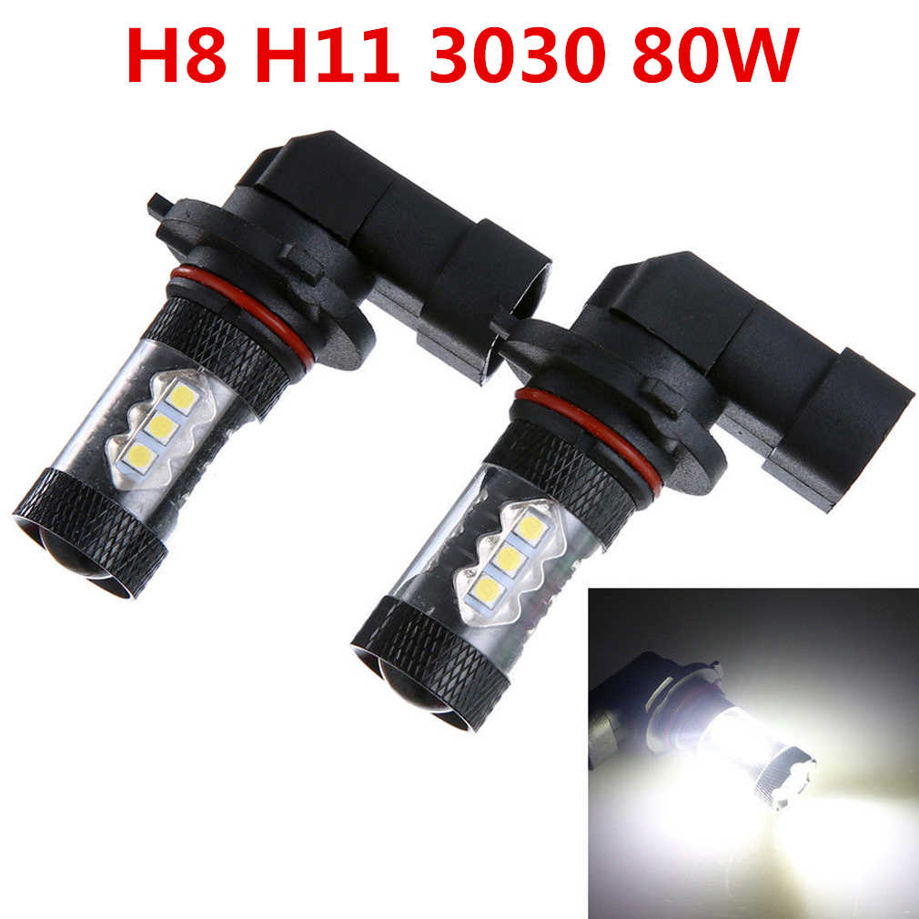 2pcs H11 H8 80W LED Canbus 16SMD Bulbs White 6000K Fit for BMW 325 328 335i e90 Fog Light Replacement LED Bulbs