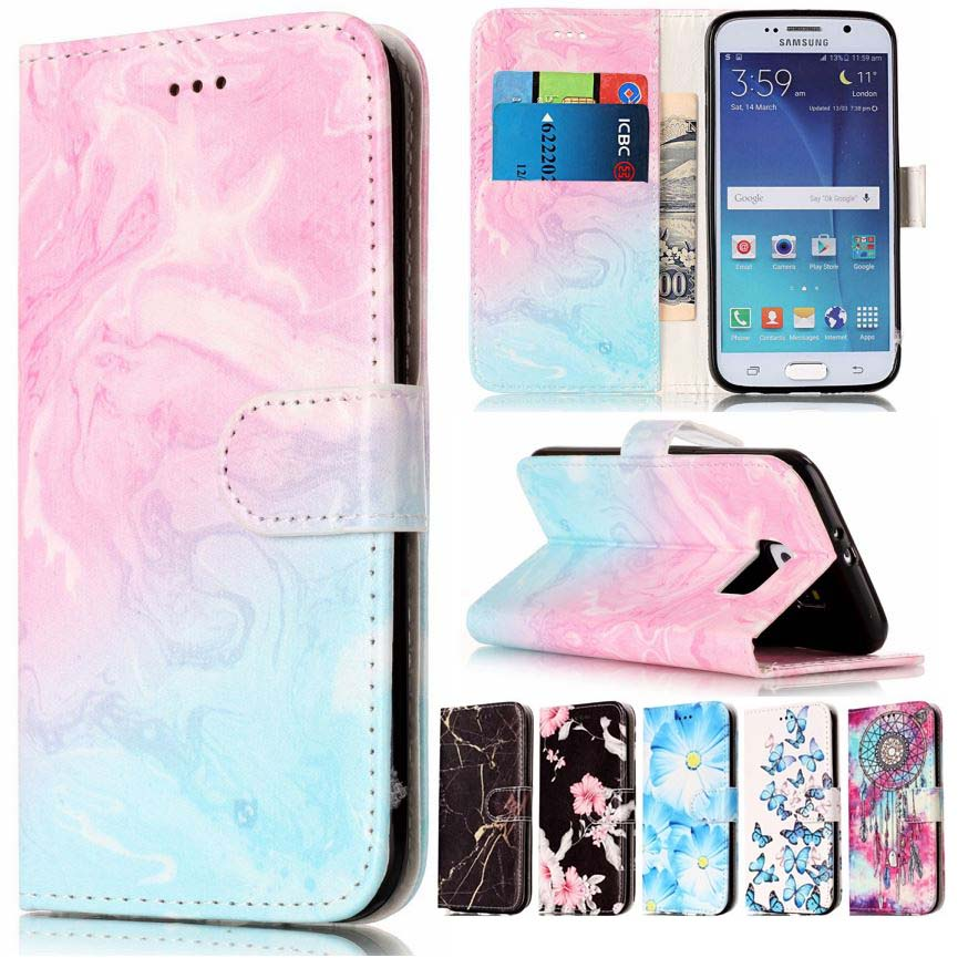 Leather Flip Wallet Case Cover For Samsung Galaxy S9 S8 ...