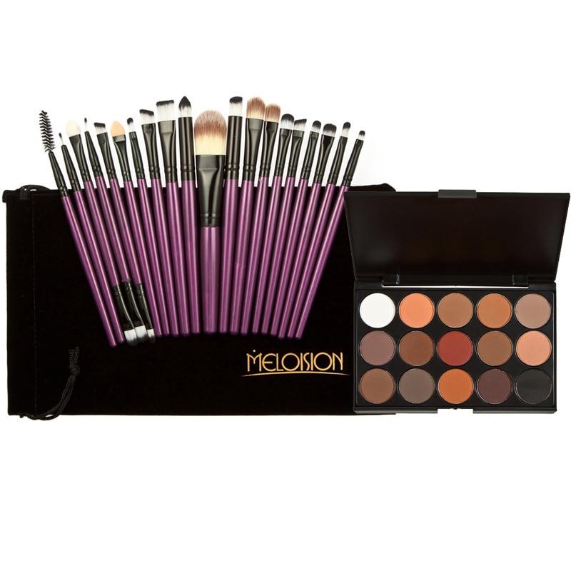 2017 professional Free Shipping Hot Makeup Set kits15 Colors Makeup Shimmer Matte Eyeshadow Palette+ 20pcs Brushes Purple Black