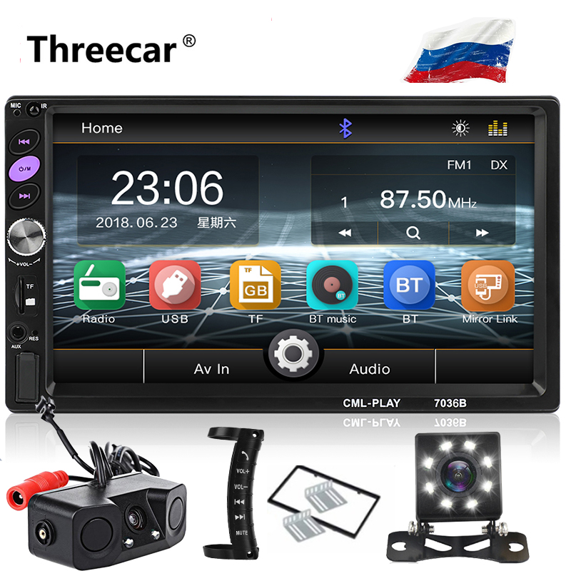 7 дюймов Bluetooth 2 Din Зеркало Ссылка для Android 8,0 поддержка задней камеры автомобиля радио плеер LCD сенсорный экран аудио автомобиля FM 2 din 7036