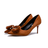 Newest Brand Dress Pumps Pointed Toe Spiral Metal Ring Thin Heels Fashion Suede Leather Camel Black