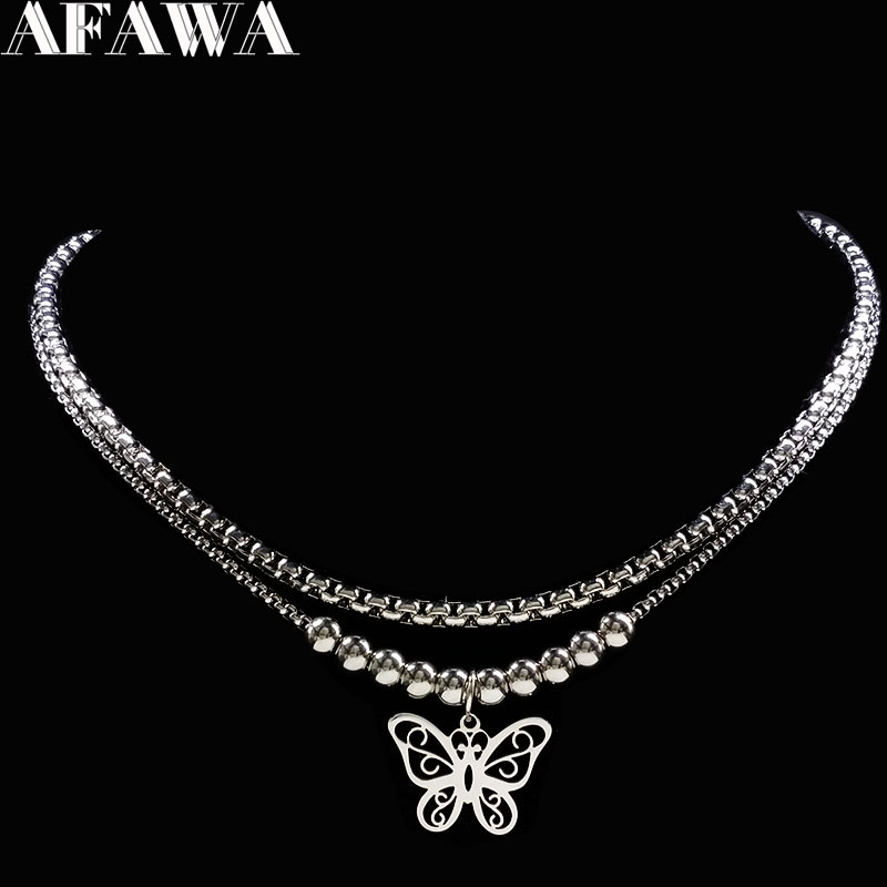 Butterfly Silver Color Stainless Steel Necklace Women Double Layer Statement Necklace Jewelry Gift Collares Mujer 2019 N18056Butterfly Silver Color Stainless Steel Necklace Women Double Layer Statement Necklace Jewelry Gift Collares Mujer 2019 N18056