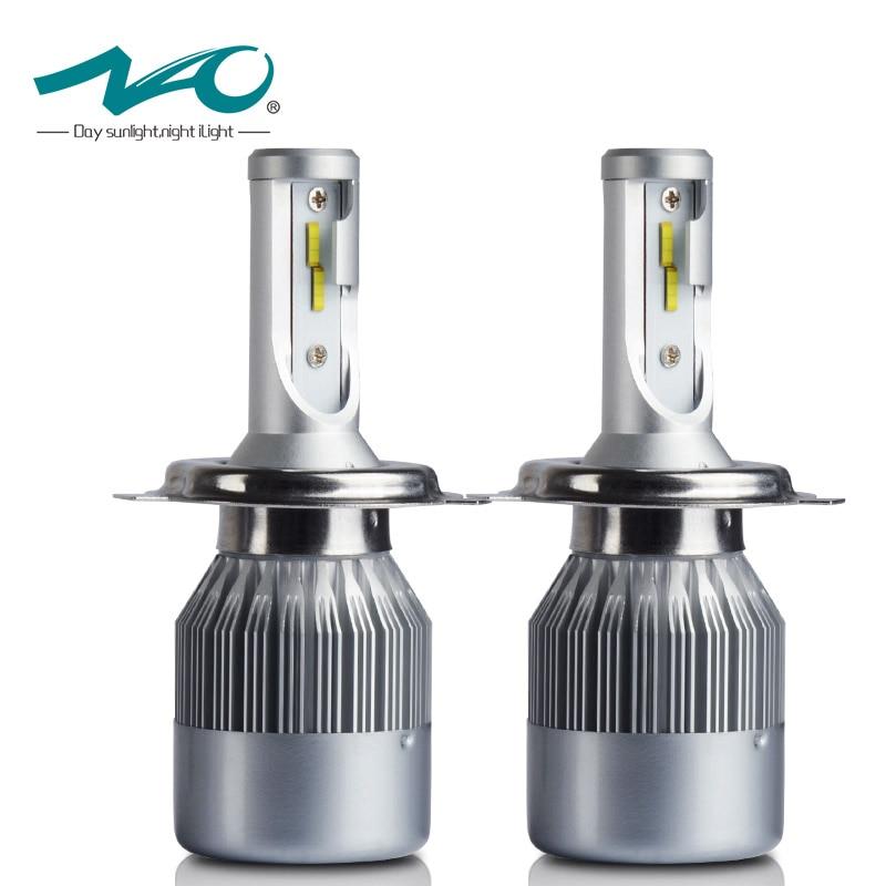 NAO H4 Dell'automobile led LED Del Faro H7 H1 H11 H8 HB3 9005 HB4 9006 72 W 7600LM 12 V Flip Chip 6000 K Kit Bianco Faro Del Rimontaggio C6F