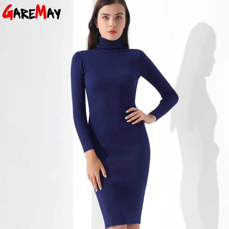 Vestidos Sweater Dress Women Knitted Winter Long Sleeve Robe Femme Turtleneck Black Dress Warm Autumn Womens Clothing GAREMAY