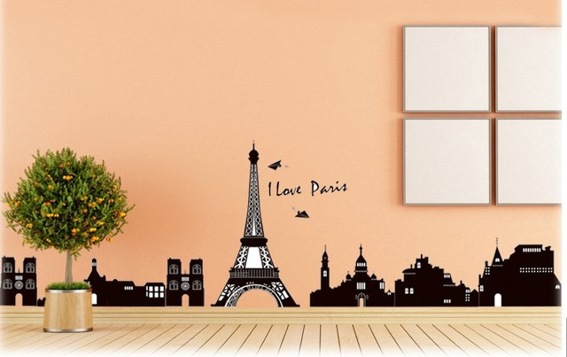 paris eiffel tower wall art wall decals family bathroom home decor ...