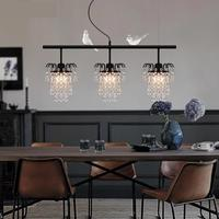 Modern Luxury Meal Hanging Lamp European Simple American Retro Crystal LED Pendant Light Three Creative Restaurant