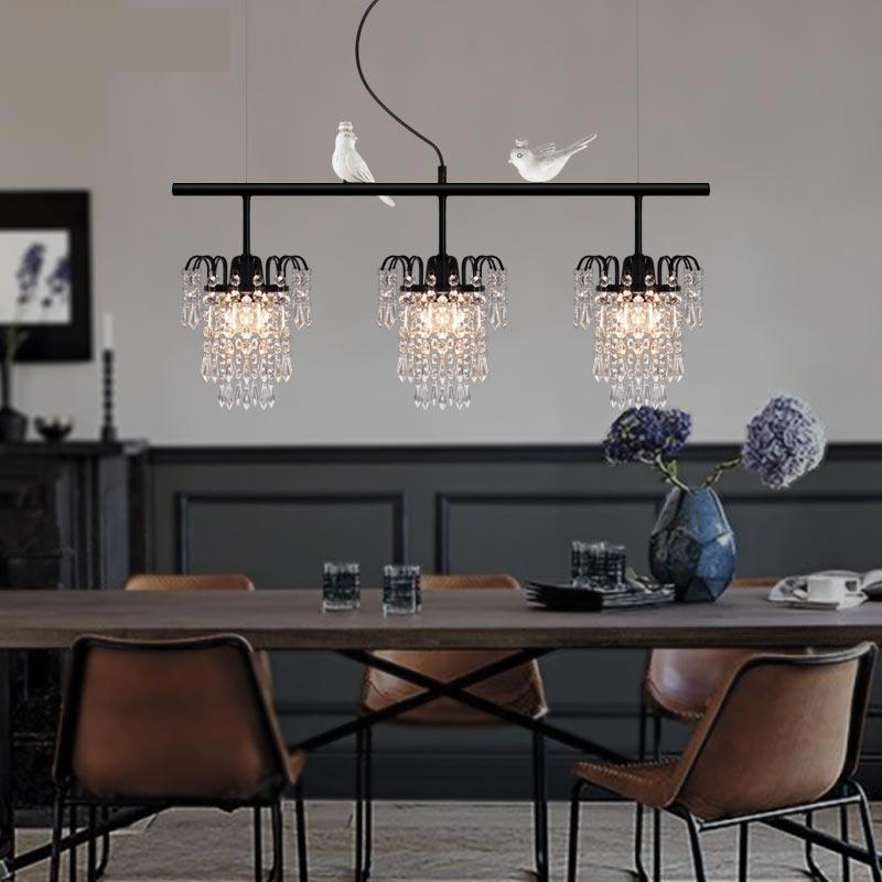 Modern Luxury Meal Hanging Lamp European Simple American Retro Crystal LED pendant light Three Creative Restaurant Lamps restaurant cafe meal of lamps and lanterns hanging lamp is acted the role of single head 3 lemon meal hanging lamp
