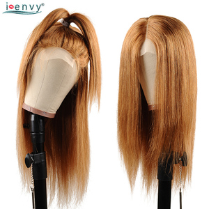 Image 1 - Перуанские блонд человеческие волосы парики прямые 1B 30 цветные Омбре кружева фронта человеческих волос парики для черных женщин медовый блонд парик Nonremy