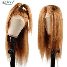 Peruwiański włosy ludzkie w kolorze blond peruki prosto 1B 30 kolorowe Ombre koronki przodu włosów ludzkich peruk dla czarnych kobiet miód blond peruka Nonremy