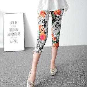 Image 5 - INITIALDREAM Leggings dété pour femmes, pantalons élastiques à taille haute, imprimés, imprimés, élastiques