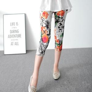 Image 5 - INITIALDREAM Leggings elásticos de cintura alta para Mujer, mallas elásticas impresas, para verano