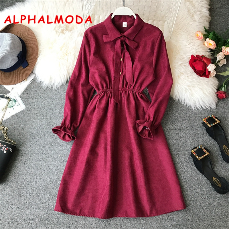 ALPHALMODA Turn-down Collar High Waist Vintage Women Dress Long-sleeved Solid Single Breasted Autumn Preppy Vestidos Suede Dress
