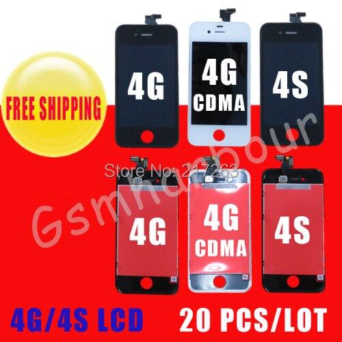 imágenes para Digitalizador Pantalla LCD Para el iphone 4 4G/4GS Reemplazo con Pantalla Táctil + Frame Conjunto Completo y Anti-polvo de malla instalado