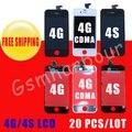 Display LCD Digitador Para o iphone 4 4G/4GS Substituição com Tela de Toque + Quadro Conjunto Completo e Anti-poeira malha instalado
