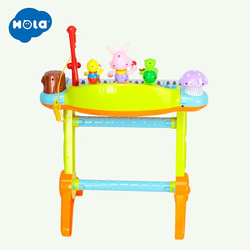 HUILE TOYS 669 Kids Musical Toy Electronic Keyboard Musical Organ With Microphone, Stool, Teaching Light up Keys, Dancing Animal