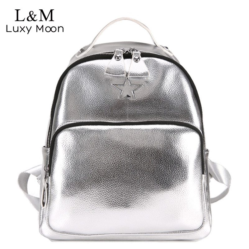 2018 Women Leather Backpack School Bags For Teenage Girls Solid Smooth Mochila feminina Shoulder Bags New Silver Rucksack XA502H fashion women leather backpack rucksack travel school bag shoulder bags satchel girls mochila feminina school bags for teenagers