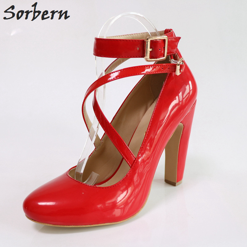 Sorbern Red Shiny Cross Straps Women Pumps Round Toe Square Chunky High Heels Pumps Women Shoes Sexy Heels Custom Color