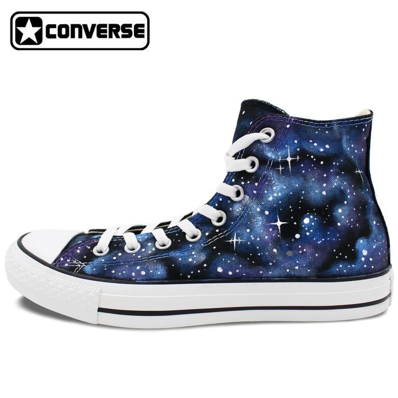 Prix pour Sneakers Hommes Femmes Chaussures Bleu Galaxy Converse All Star tout dans Le Ciel Étoiles Design Peint À La Main Toile Chaussures Unique cadeaux