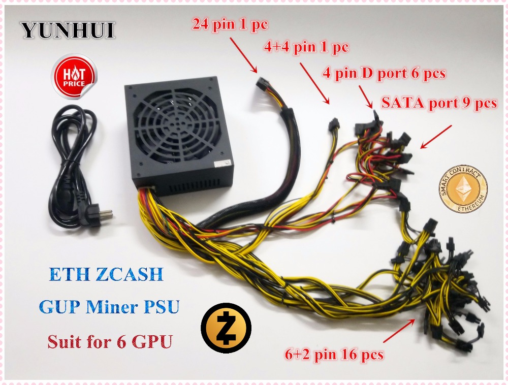 Factory price Gold POWER Fan 1800W Max 12V 150A Ethereum ETH power supply for R9 380 RX 470 <font><b>RX480</b></font> 6 GPU CARDS image