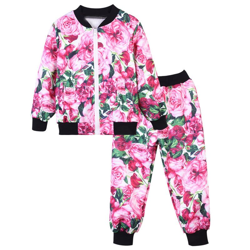 New Spring Girls Clothes Children Clothing Sets Flower Pattern Kids Coat For Girls Sports Sets Baby Girl Outfits Sets Age 2-12T new the european ce standards pp plastic baby walkers scooters musical scooter for children 2 years of age or older