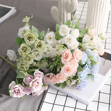 28cm Roses Artificial Flowers 5Fork10Heads/Bouquet Artificial Roses Flowers For Home Party Wedding Decorations Fake Roses(China)