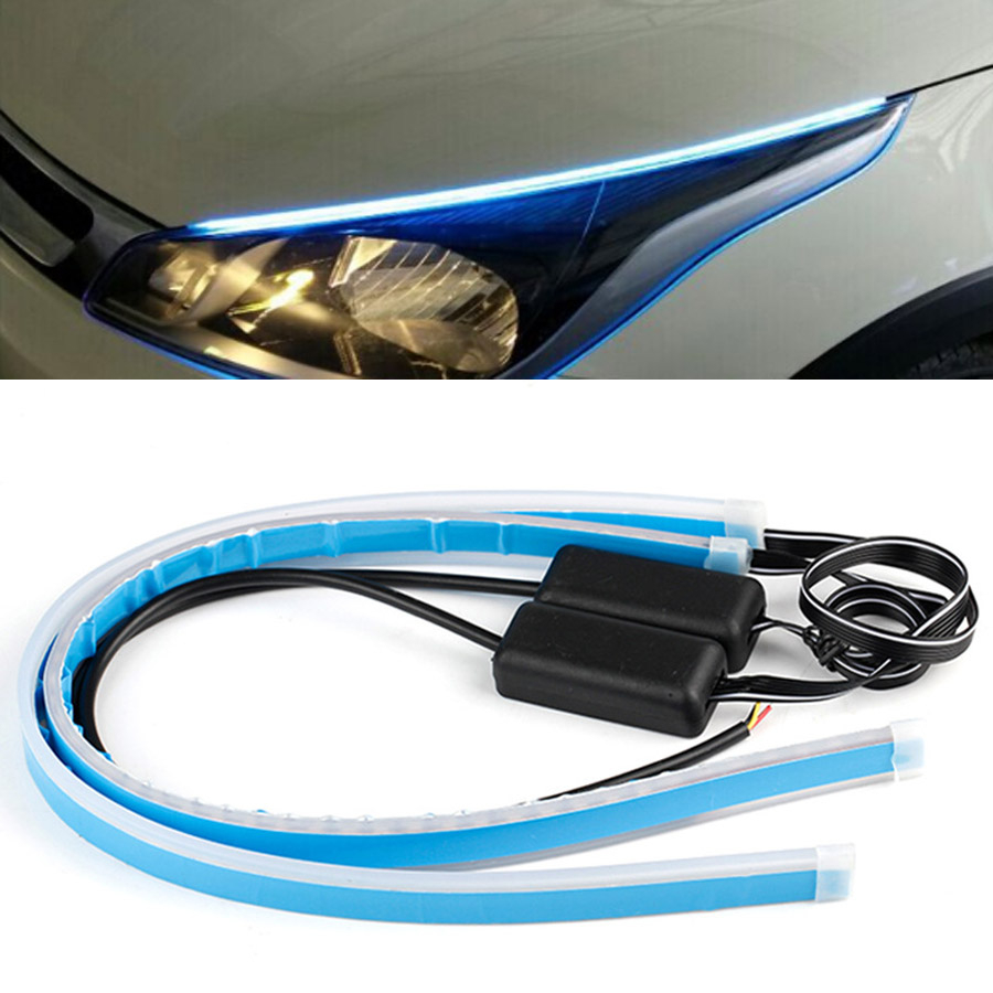 External Car Headlight Ultra-thin LED Daytime Running Light Flexible Strip For Mitsubishi Lancer Lancer IX Lancer EX Pajero