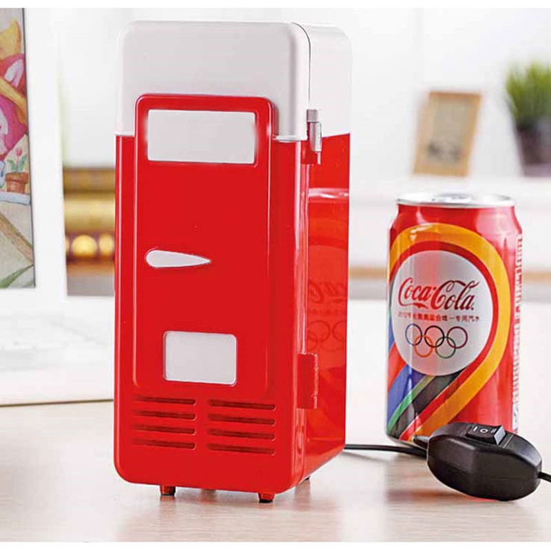 Small Mini Fridge Hot Cold Dual Use Gadget Beverage Cans Cooler Warmer Refrigerator With Internal LED Drink Fridge Light