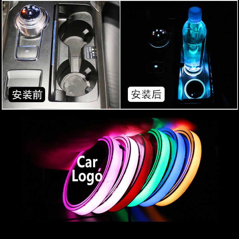 2X Voiture Logo Lumière tasse à LED porte-boissons Anti-dérapant Tapis Coaster Autocollants Pour Peugeot 307 206 407 3008 2008 207 208 508 Accessoires